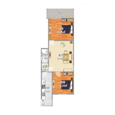燕城苑小区2室1厅1卫1厨76.00㎡户型图