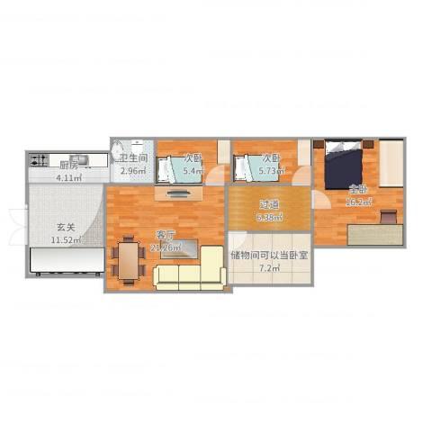 燕城苑小区3室1厅1卫1厨101.00㎡户型图