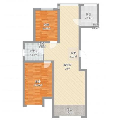 尚品名都二期2室2厅1卫1厨88.00㎡户型图