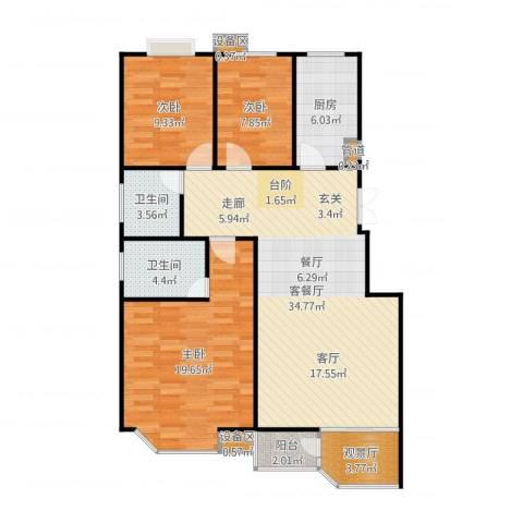 阿尔卡迪亚3室2厅2卫1厨116.00㎡户型图