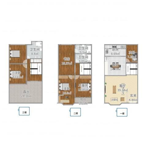 天水家园5室2厅3卫1厨261.00㎡户型图