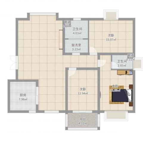 阳光・城市花园3室2厅2卫1厨138.00㎡户型图