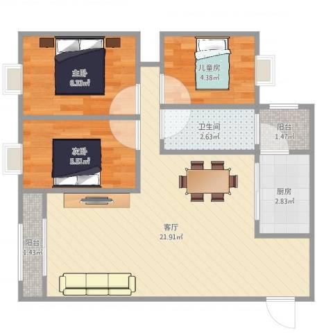 民主新村3室1厅1卫1厨58.00㎡户型图