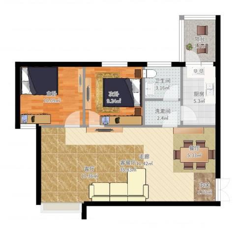 住友・上东印象2室2厅1卫1厨87.00㎡户型图