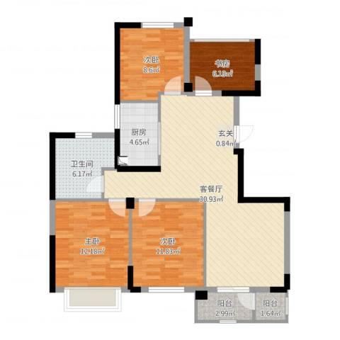 长江国际二期晶源4室2厅1卫1厨106.00㎡户型图