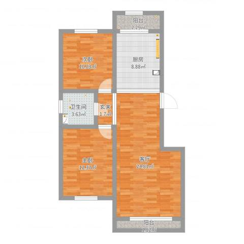 雍达华仁公馆2室1厅1卫1厨90.00㎡户型图