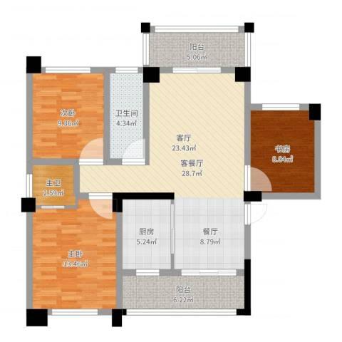 三景国际3室2厅2卫1厨104.00㎡户型图