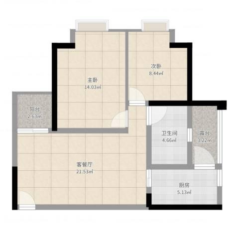 盛世龙都2室2厅1卫1厨75.00㎡户型图
