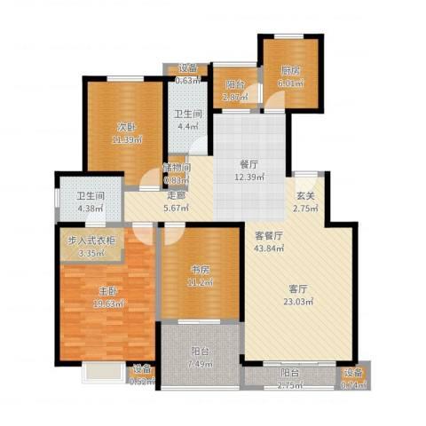 高科尚都3室2厅2卫1厨146.00㎡户型图