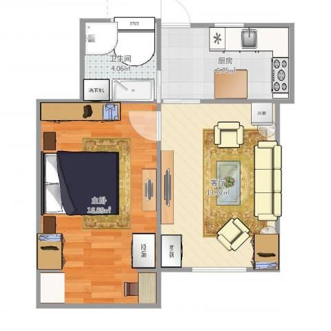 上钢七村1室1厅1卫1厨52.00㎡户型图