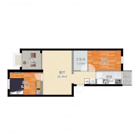 花家地南里2室1厅1卫1厨58.00㎡户型图