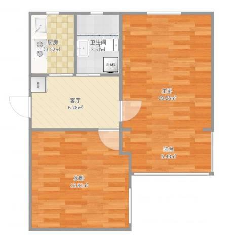 幸福第一公寓2室1厅1卫1厨57.00㎡户型图