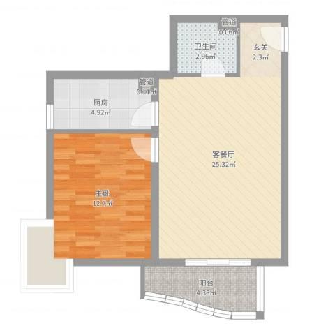 汾河外滩1室2厅1卫1厨63.00㎡户型图