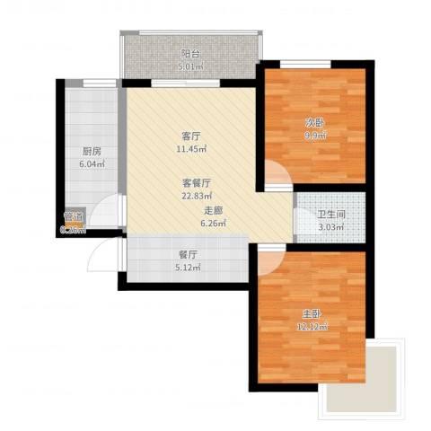 颐馨雅苑2室2厅1卫1厨74.00㎡户型图