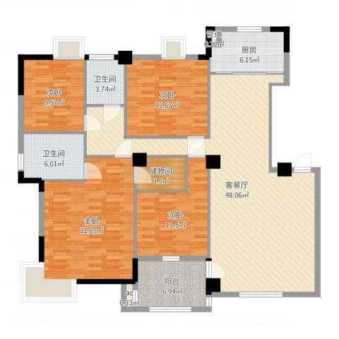 骏景华庭4室2厅2卫1厨164.00㎡户型图