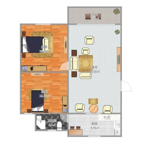 新升新苑2室1厅1卫1厨117.00㎡户型图