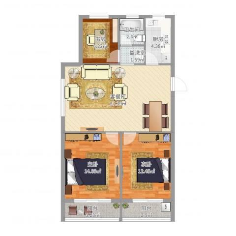 东方威尼斯3室4厅1卫1厨93.00㎡户型图