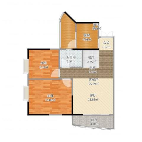 松华阁2室2厅1卫1厨81.00㎡户型图