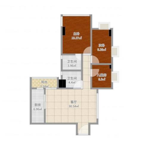 淘金华庭3室1厅2卫1厨99.00㎡户型图