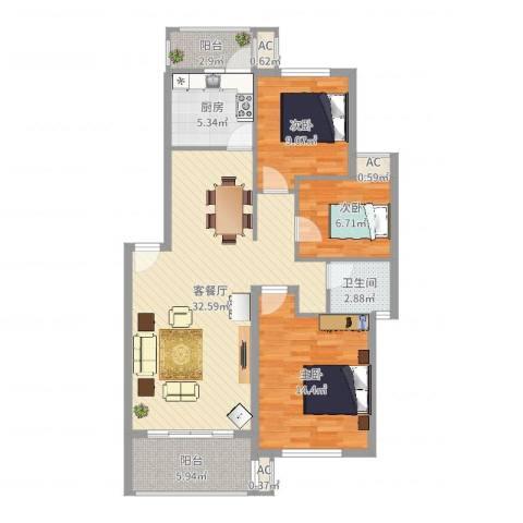 长坡社区3室2厅1卫1厨102.00㎡户型图