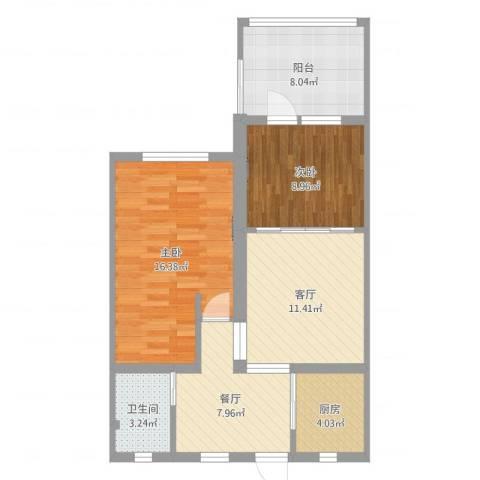 泗塘七村2室2厅1卫1厨75.00㎡户型图
