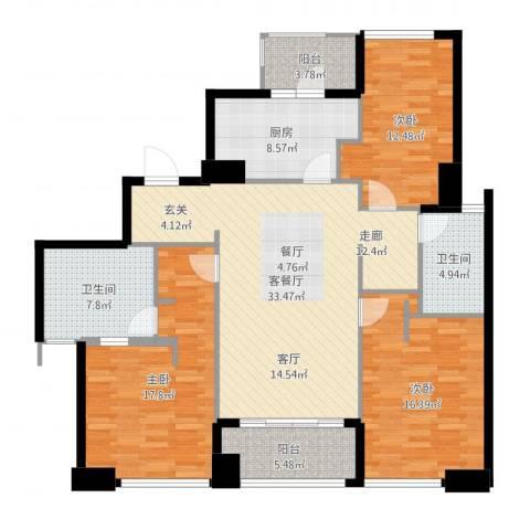 姑苏裕沁庭锦苑3室2厅2卫1厨138.00㎡户型图