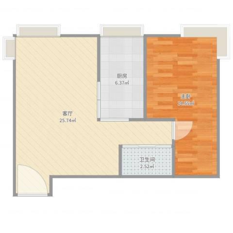 珠江骏景1室1厅1卫1厨61.00㎡户型图