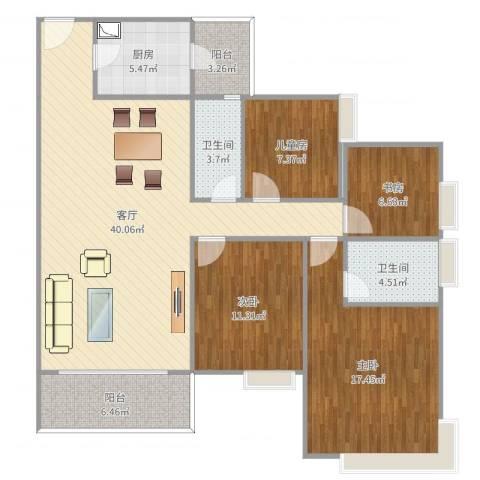 华景新城陶然庭苑4室1厅2卫1厨133.00㎡户型图