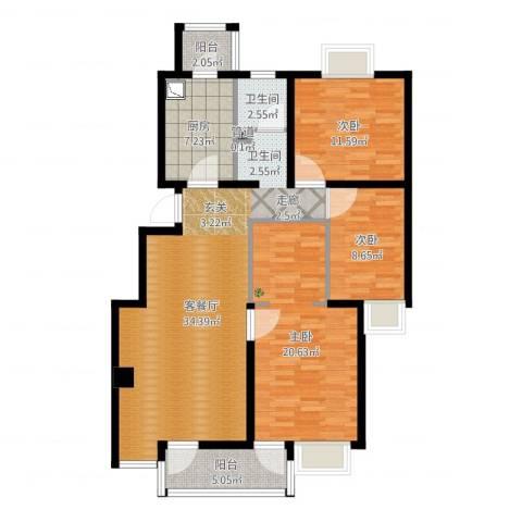 北苑之星3室2厅2卫1厨115.00㎡户型图