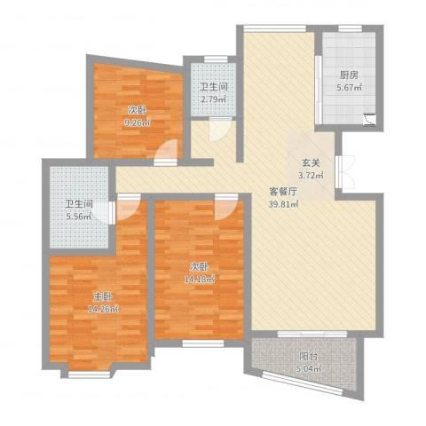 金桥爱建园3室2厅2卫1厨121.00㎡户型图