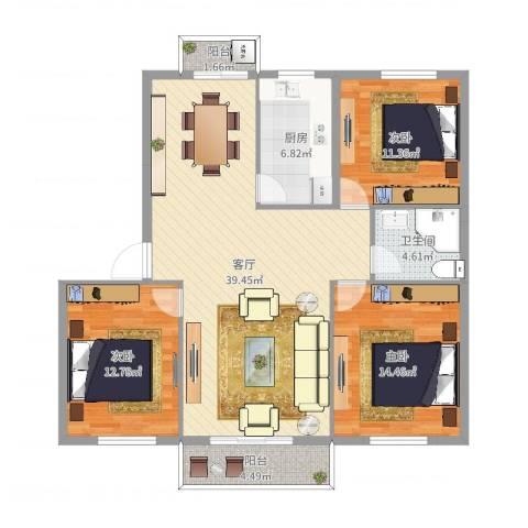 国泰花园3室1厅1卫1厨120.00㎡户型图