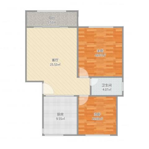 成亿宝盛家苑2室1厅1卫1厨89.00㎡户型图