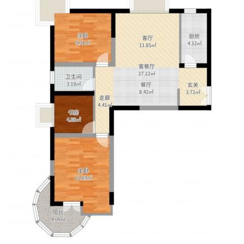 金陵世纪花园3室2厅1卫1厨82.00㎡户型图