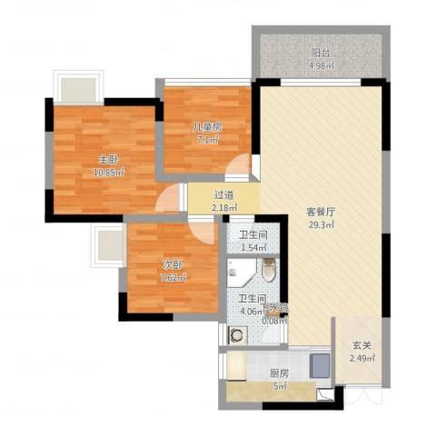 合川北城华府-实际原始户型图3室2厅3卫1厨88.00㎡户型图
