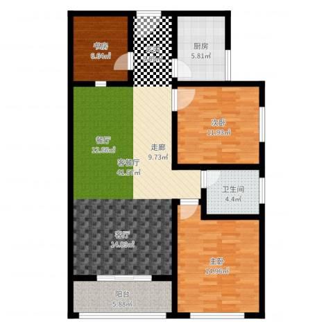 法苑小区3室2厅1卫1厨114.00㎡户型图