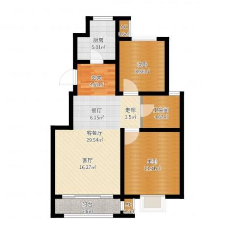 首创康桥郡2室2厅1卫1厨83.00㎡户型图