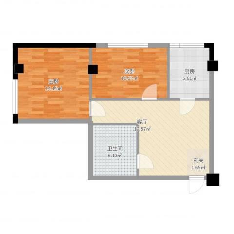 东城左岸2室1厅1卫1厨68.00㎡户型图