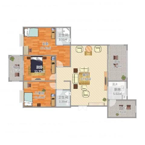 友创・滨河湾3室1厅2卫1厨141.00㎡户型图