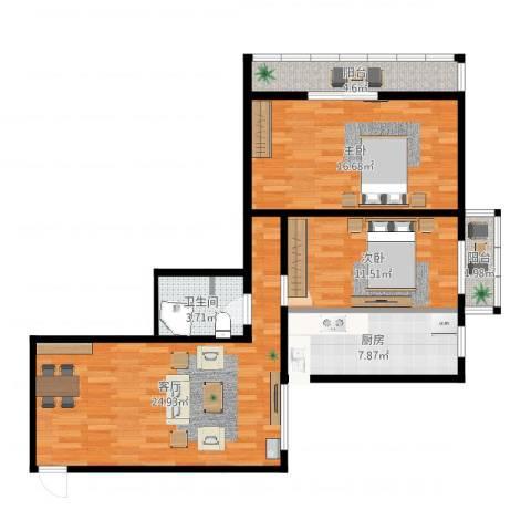 红旗家属院2室1厅1卫1厨89.00㎡户型图
