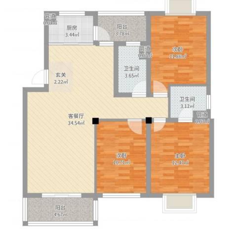 华泰剑桥3室2厅2卫1厨111.00㎡户型图