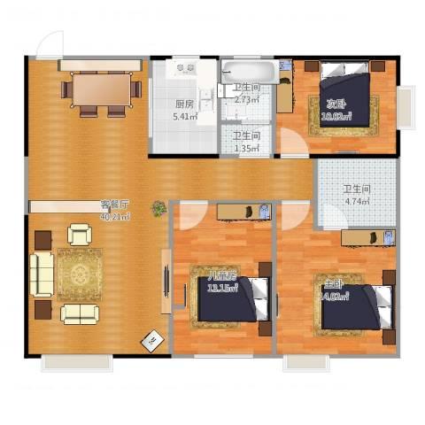 骆仙湖畔118平3室2厅3卫1厨115.00㎡户型图