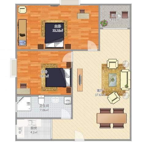 粤海庄园2室1厅1卫1厨112.00㎡户型图