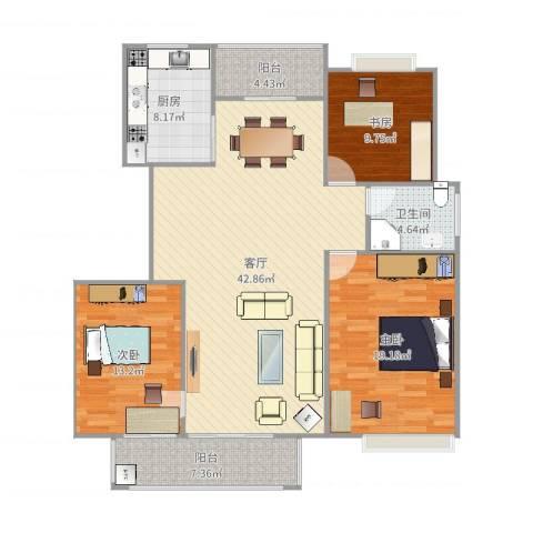 警韵之家3室1厅1卫1厨137.00㎡户型图