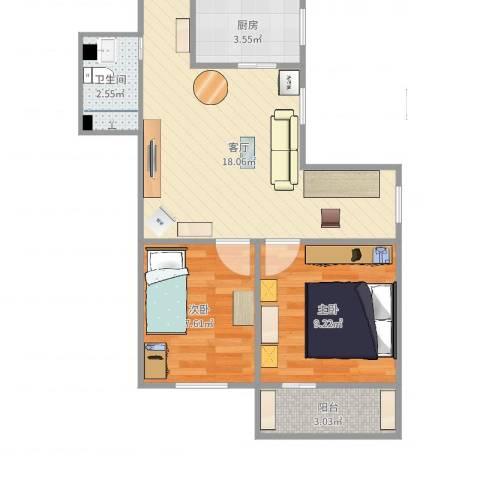 劲松一区2室1厅1卫1厨55.00㎡户型图