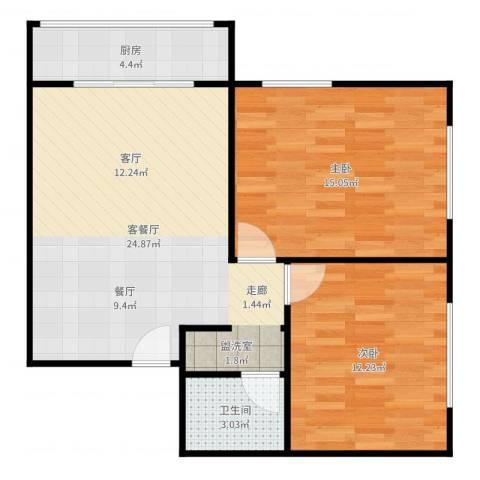 椿树园2室2厅1卫1厨74.00㎡户型图