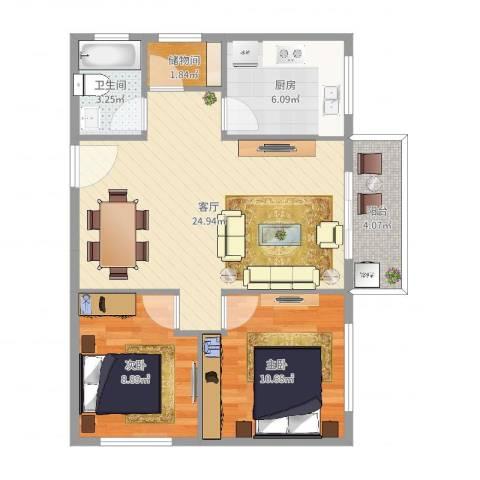 高塘花园2室1厅1卫1厨75.00㎡户型图