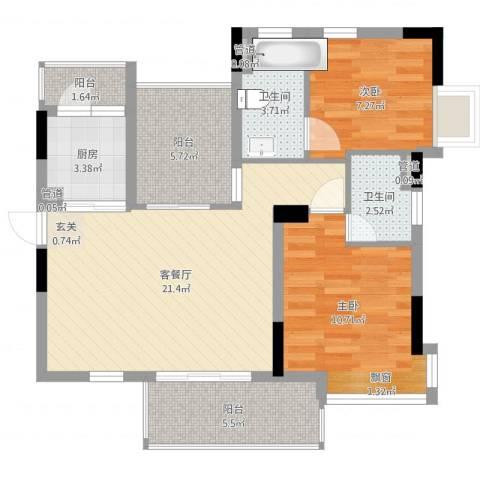越秀逸泉韵翠2室2厅2卫1厨78.00㎡户型图