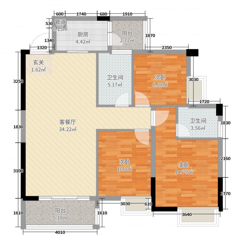 宝豪・御龙湾213.46㎡户型3室2厅2卫1厨