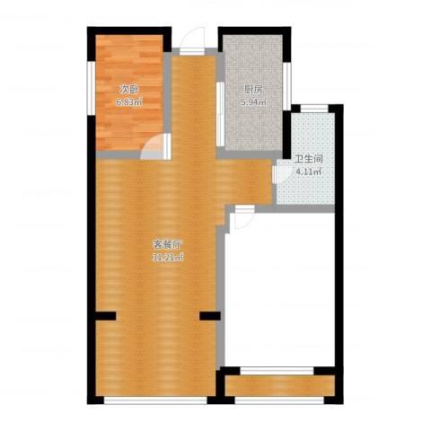 建滔裕景园1室2厅1卫1厨86.00㎡户型图