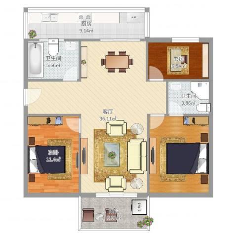 高塘怡景苑2室1厅2卫1厨115.00㎡户型图